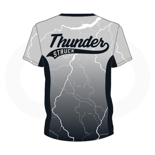 Thunder Struck Silver Black T Shirt 1