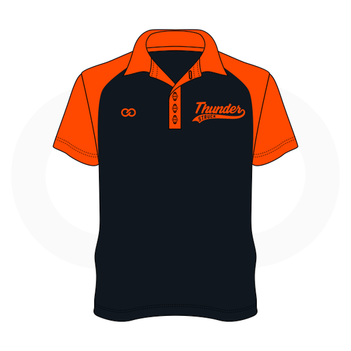Thunder Struck Black Orange Polo Shirt 2