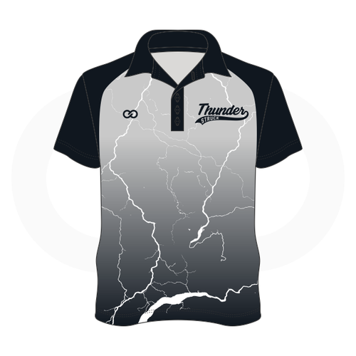 Thunder Struck Silver Black Polo Shirt 1