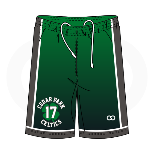 Cedar Celtics Basketball Green Faded Shorts