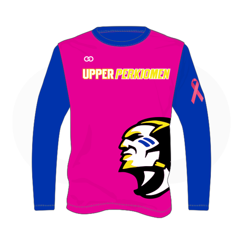 Upper Perk Indians Long Sleeve Shirt - Breast Cancer Option 1