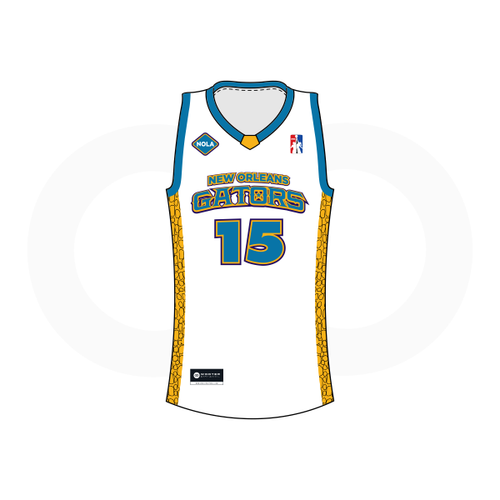 NOLA Gators White Basketball Jersey (Option 2)