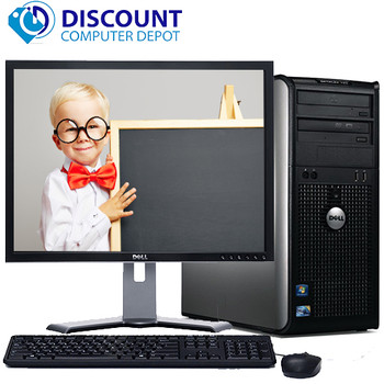 """Dell Optiplex Windows 10 Tower Computer PC Core 2 Duo 4GB 500GB Wifi 17"""" LCD"""
