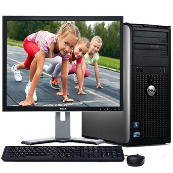 "Dell Optiplex Tower Windows 10 Desktop Computer Dual Core 4gb DVD Wifi 17"" LCD"
