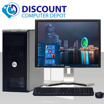 "Fast Dell Optiplex Desktop Computer Tower Windows 10 Core2Duo 4GB 250GB 17"" LCD"