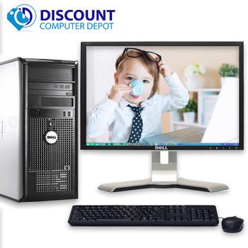 "Dell Optiplex Windows 10 Desktop Computer Tower Core2Duo 8GB 1TB DVDRW 19"" LCD"