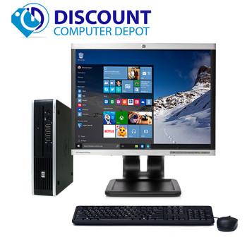 "HP 8000 Small Thin Desktop Computer PC C2D 3.0GHz 4GB 160GB 17"" LCD Win10 Pro"