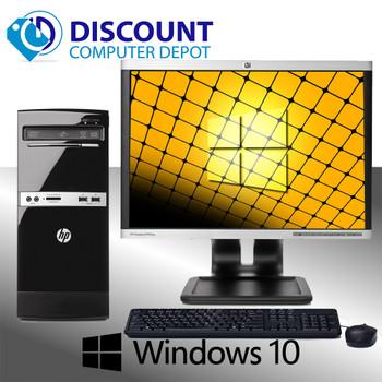 "Fast HP 500B Desktop Computer Tower Windows 10 Dual Core  4GB 500GB 19"" LCD"