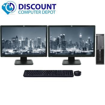 HP 8000 Elite Desktop Computer 8GB 500GB Dual 19 LCD Monitors Windows 10 Pro