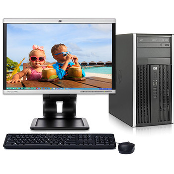 "HP 6005 Pro Tower Computer PC AMD 3.0GHz 4GB 160GB Windows 10 Pro w19"" LCD"