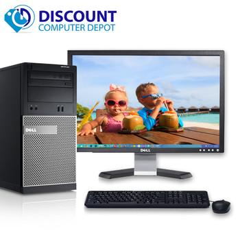 """Dell Optiplex Desktop Computer Tower Quad i5 8GB 500GB Windows 10 Pro w/22"""" LCD"""