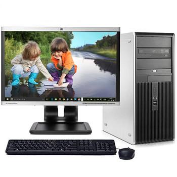 "HP DC Desktop Computer PC Tower Intel Dual Core 4GB 500GB DVDRW WiFi 17"" LCD"