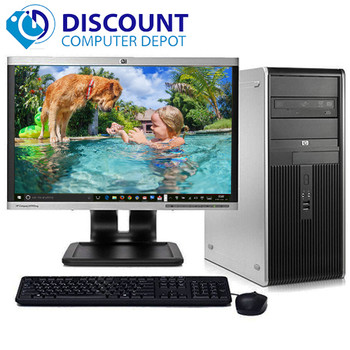 "HP DC Desktop Computer PC Tower Intel Dual Core 8GB 1TB DVD-RW WiFi 19"" LCD"