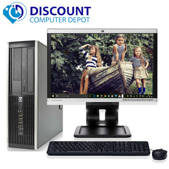 "HP Elite Win10 Pro Business Desktop PC C2D 3.0GHz 4GB 160GB 19"" LCD Wifi"