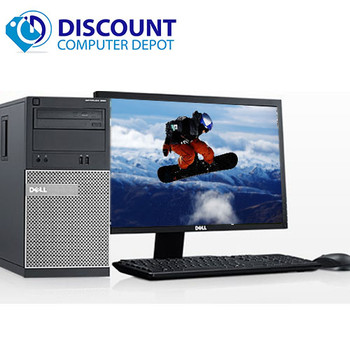 "Dell Optiplex Desktop Computer Tower Core i3 4GB 250GB with 17"" LCD Windows 10"