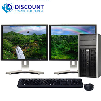 "HP Elite/Pro Desktop Computer PC 4GB 500GB HDD Dual 19"" LCD's Wifi Windows 10"