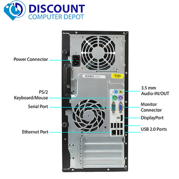 Fast HP Windows 10 Desktop Computer PC Tower Core i3 3.1GHz 8GB RAM 160GB Wifi
