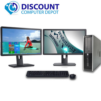 Hp Windows 10 Computer PC with 2 LCD Monitors Q Core i5 Computer 3.1 Ghz 4Gb WiFi