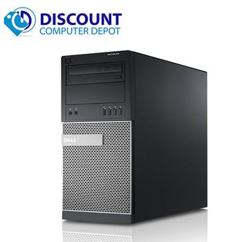 """Dell Optiplex Windows 10 PC Tower Quad i5 3.1GHz 8GB 1TB w/Dual 22"""" LCD"""