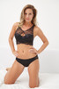 SILK WITH LEAVERS LACE CLAIRE BRA TOP BLACK