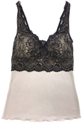 HOME APPAREL BUILT UP CAMI OATMEAL W/ BLACK LACE