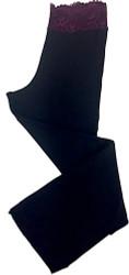 HOME APPAREL LACE WAIST PANT BLACK W/ MERLOT LACE