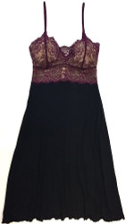 HOME APPAREL LACE CUP BALLERINA GOWN BLACK W/ MERLOT LACE