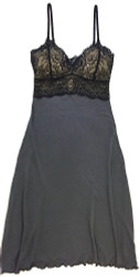 HOME APPAREL LACE CUP BALLERINA GOWN SLATE W/ BLACK LACE