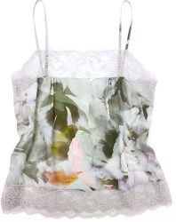 SILK WITH LEAVERS LACE PRINTED PIA UNDERPINNING GARDENIA