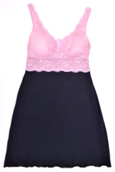 HOME APPAREL BUILT-UP CHEMISE DEEP BLUE W/ CANDY LACE