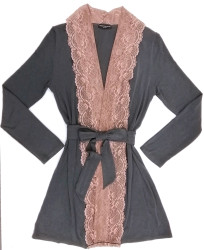 HOME APPAREL LACE FRONT ROBE SLATE W/ JAVA LACE