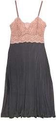 HOME APPAREL LACE CUP BALLERINA GOWN SLATE W/ JAVA LACE