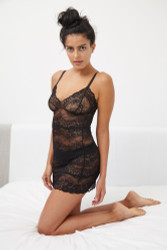 ALL LACE BOUDOIR FULL SLIP BLACK