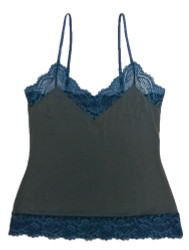 HOME APPAREL CAMISOLE SLATE W/ ARCTIC BLUE LACE