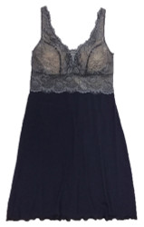 HOME APPAREL BUILT-UP CHEMISE DEEP BLUE W/ STEEL LACE