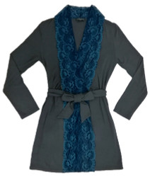 HOME APPAREL LACE FRONT ROBE SLATE W/ ARCTIC BLUE LACE