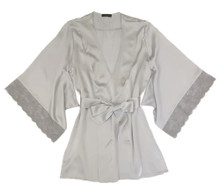SILK WITH LEAVERS LACE PRINTED YUKATA ROBE WITH LACE TRIM ICE