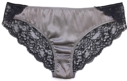 SILK WITH LEAVERS LACE ELOISE BRIEF PLATINUM
