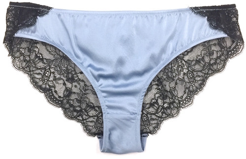 SILK WITH LEAVERS LACE ELOISE BRIEF FRENCH BLUE