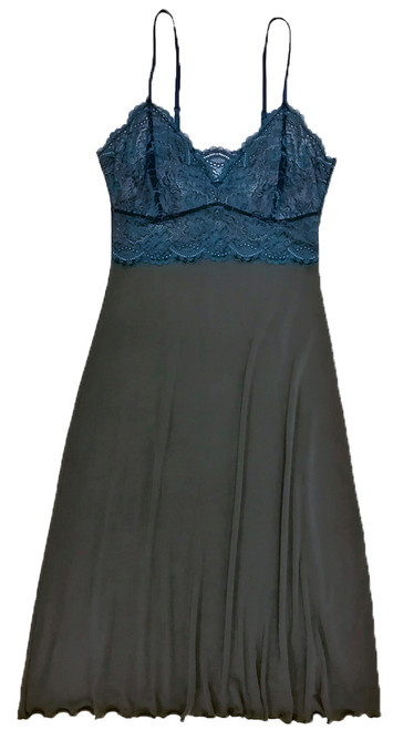 HOME APPAREL LACE CUP BALLERINA GOWN SLATE W/ ARCTIC BLUE LACE