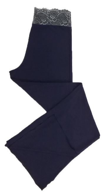 HOME APPAREL LACE WAIST PANT DEEP BLUE W/ STEEL LACE