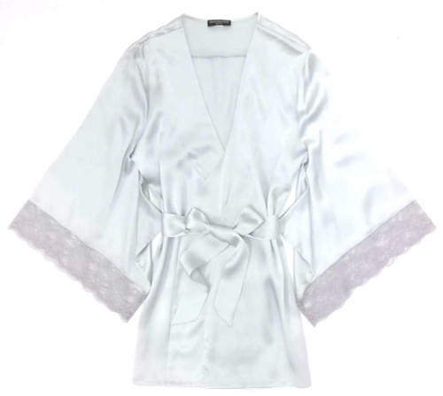 SILK WITH LEAVERS LACE PRINTED YUKATA ROBE WITH LACE TRIM SPEARMINT