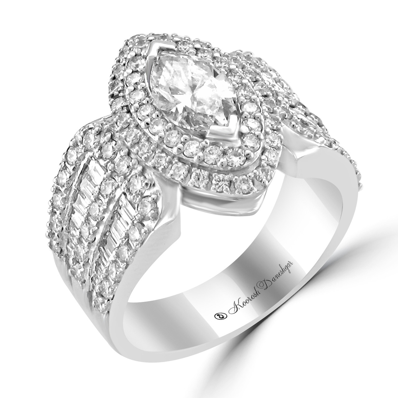 set band white diamond with gold channel ring engagement rings