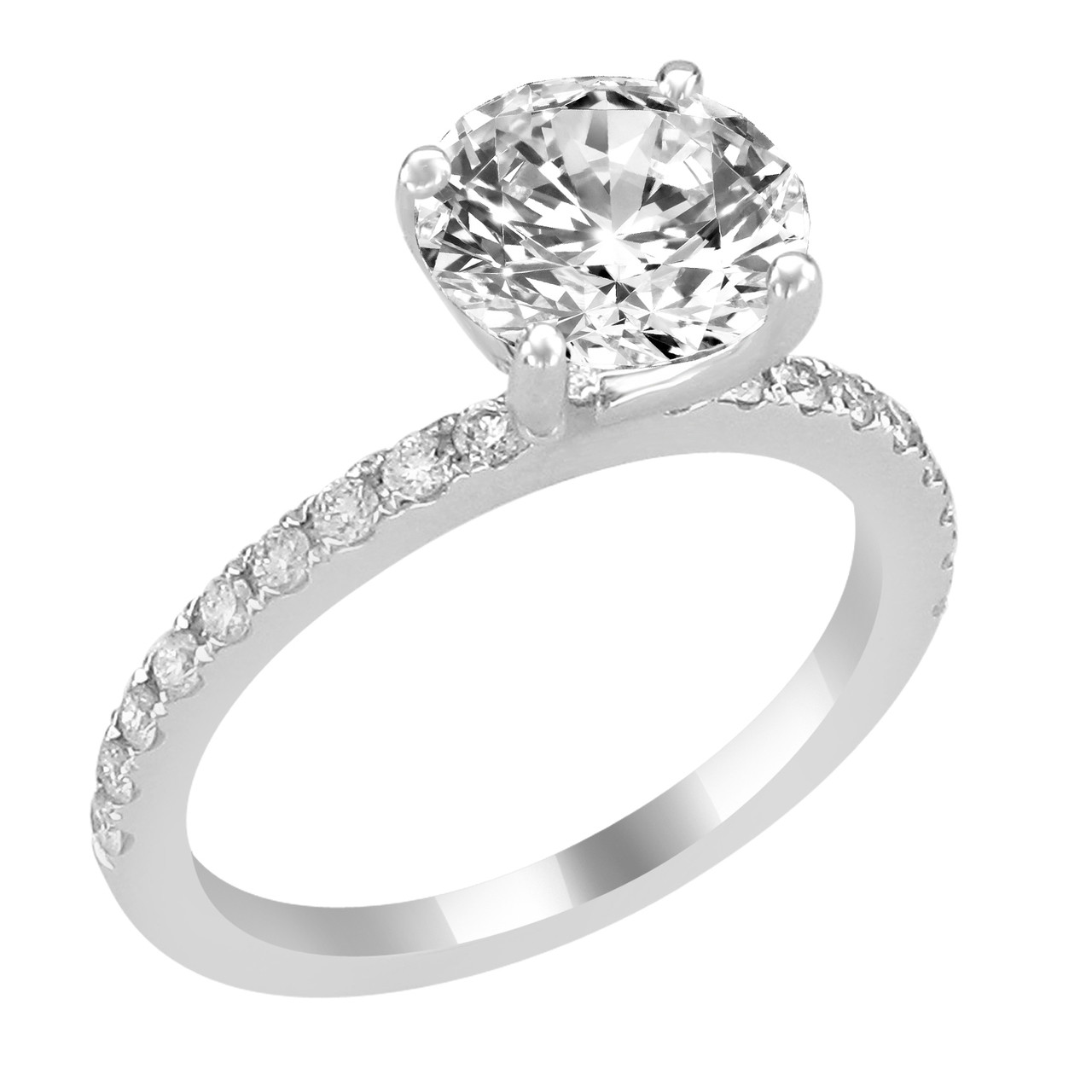 14K White Gold Engagement Ring with Bead Set Diamond Side Accent