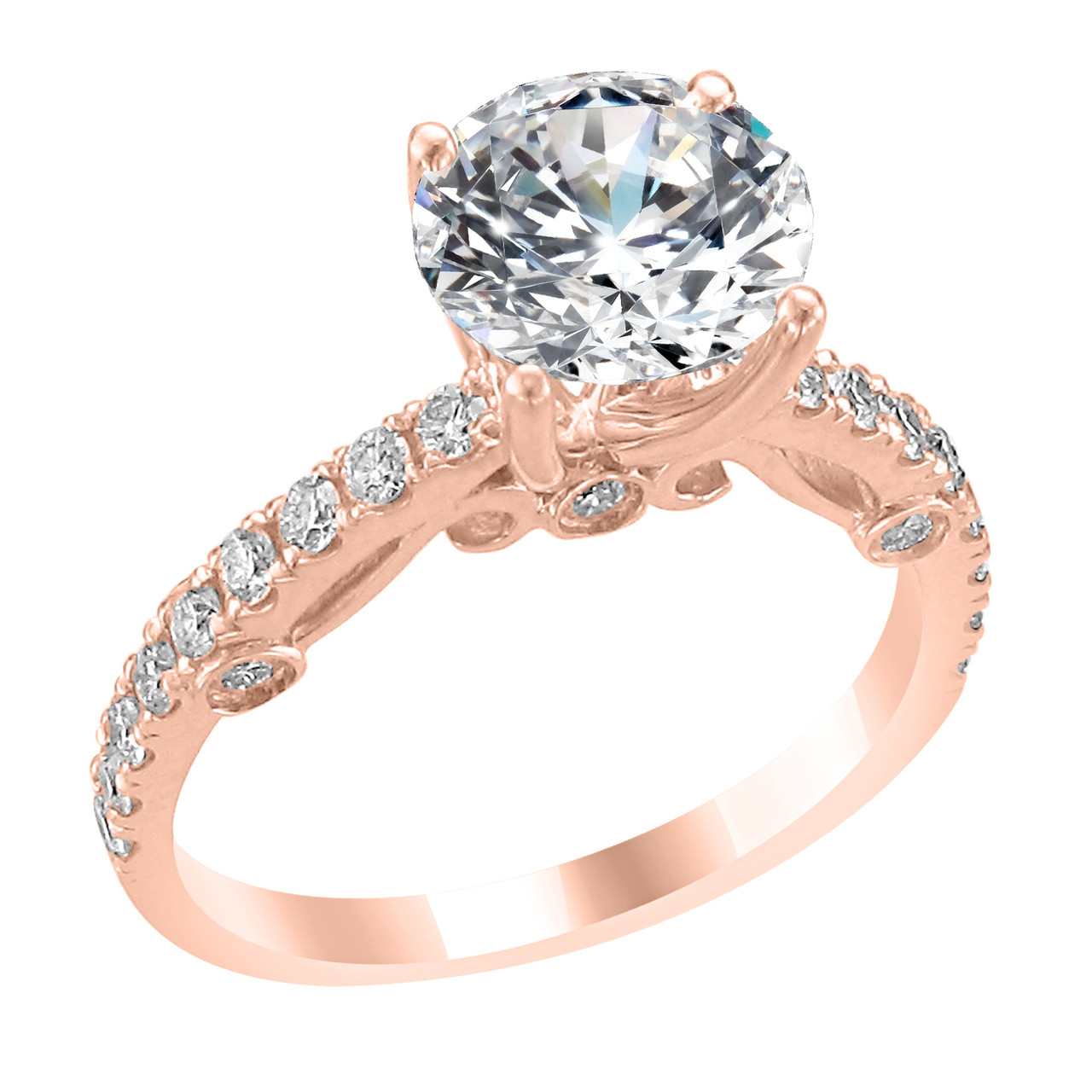 14K Rose Gold Engagement Ring with Diamond Side Accent Audrey