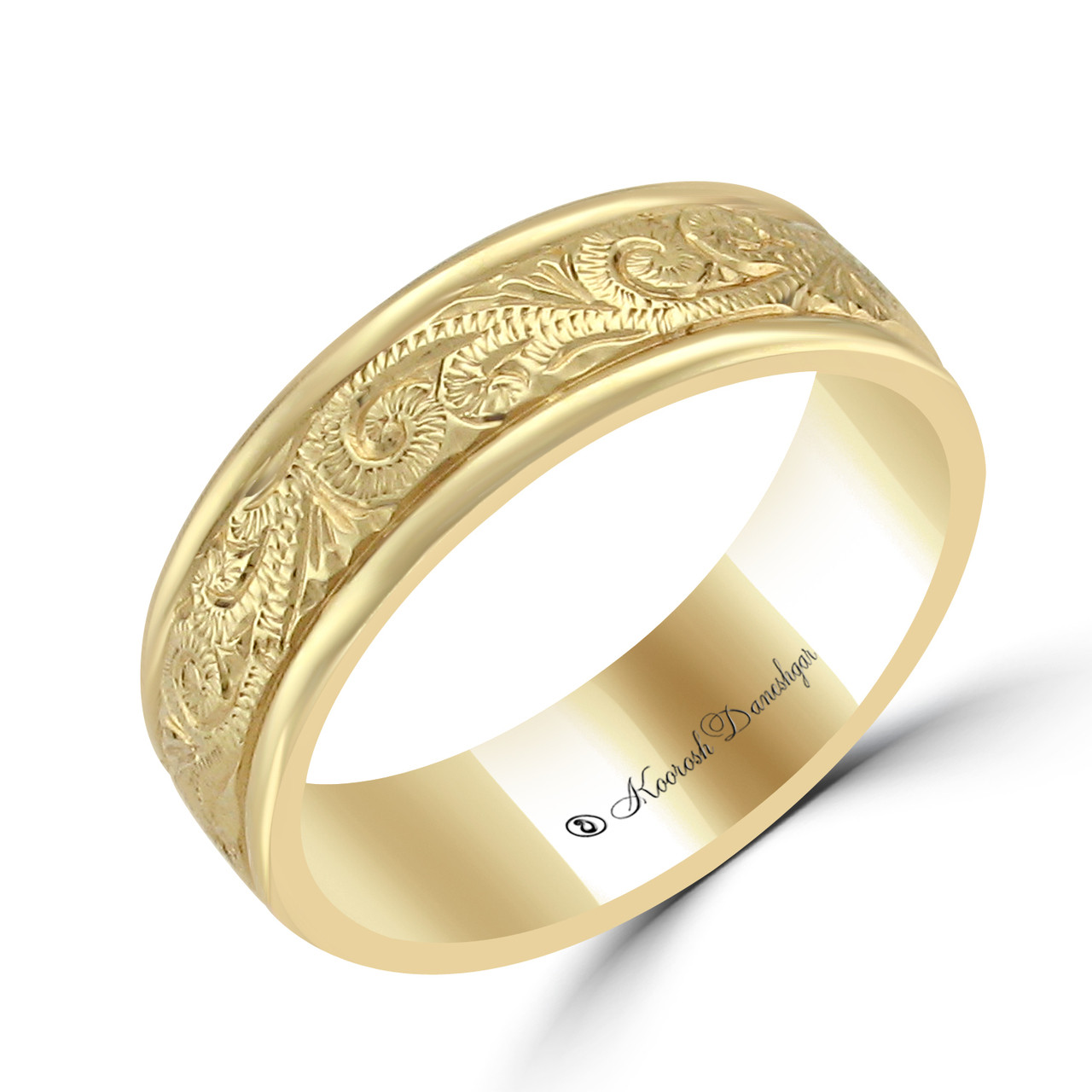 with engraved tilt gold bands hand scroll yellow band wedding work