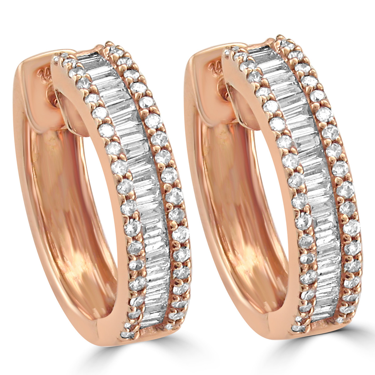 14k Rose Gold Hoop Earrings With Baguette And Round Brilliant Diamonds