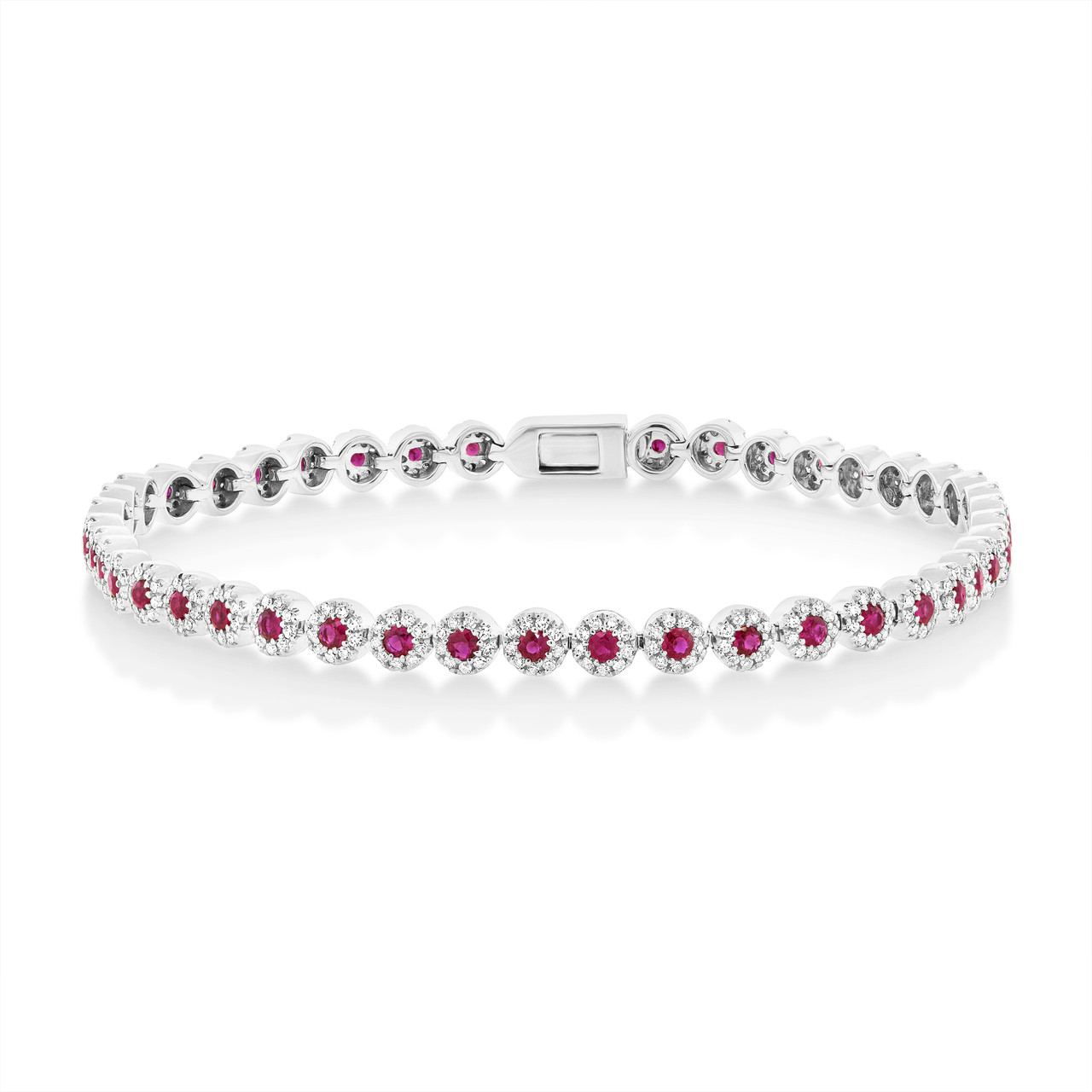 sapphire silver diamond sterling lab bracelet with tennis pink created