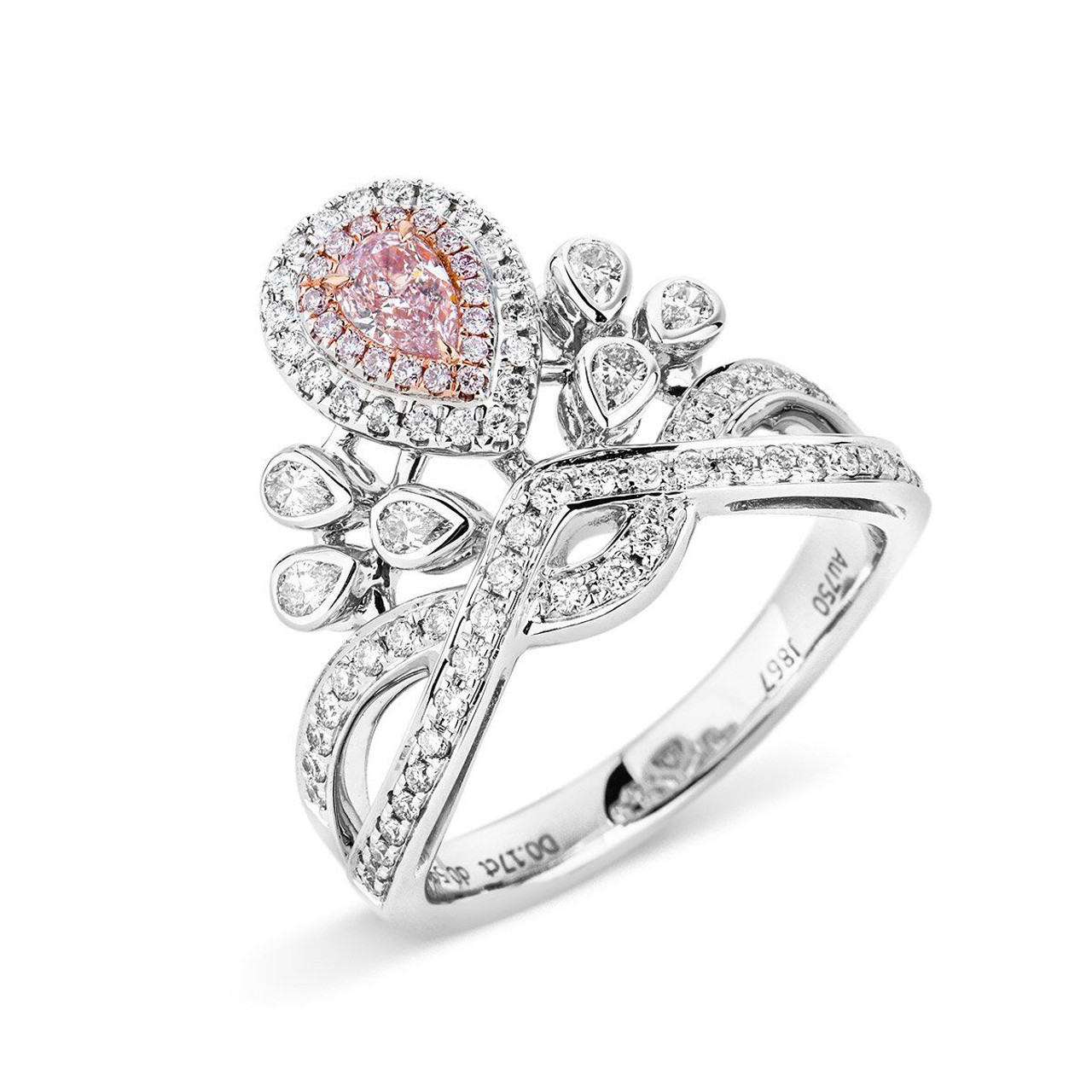 18Kt White and Rose Gold Pink Diamond Crown Ring - Wedding Bands & Co.