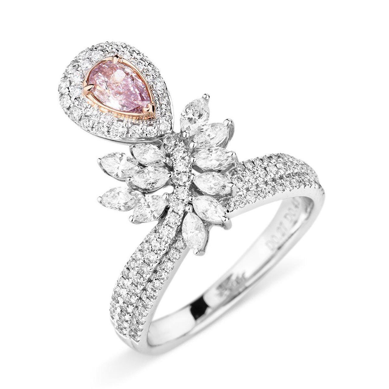 18kt white and rose gold pink diamond vine ring wedding bands co 18kt white and rose gold pink diamond vine ring junglespirit Choice Image